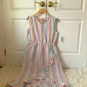 NWT Old navy kids multi color stripped wrap dress